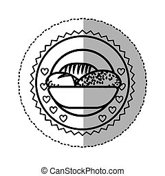 black contour silhouette sticker with olive crown and bread in basket in round frame