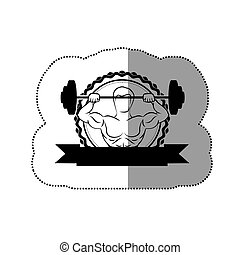 black contour sticker frame with muscle man lifting a disc weights and label