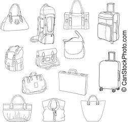 Black contours of different bags and suitcases