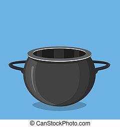 Black cooking pot, empty black saucepan