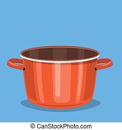 Black cooking pot, empty red saucepan