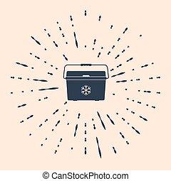 Black Cooler bag icon isolated on beige background. Portable freezer bag. Handheld refrigerator. Abstract circle random dots. Vector Illustration
