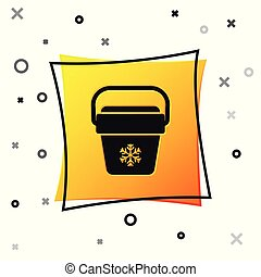 Black Cooler bag icon isolated on white background. Portable freezer bag. Handheld refrigerator. Yellow square button. Vector Illustration