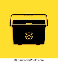 Black Cooler bag icon isolated on yellow background. Portable freezer bag. Handheld refrigerator. Long shadow style. Vector