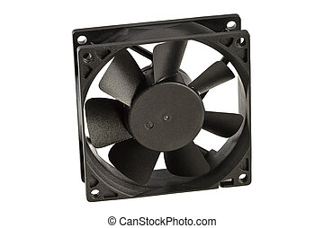 Black cooling fan, isolated on white background