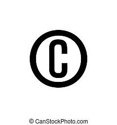 Black copyright icon isolated on white background.