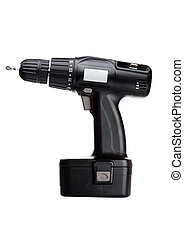 Black cordless drill with battery and drill bit
