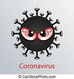 Black coronavirus icon with red eyes. Asian flu emblem. ...