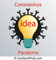 Black coronavirus sign with a yellow light bulb. Emblem of ...