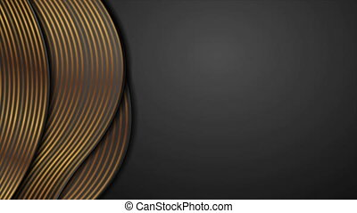 Black corporate wavy motion background with golden lines