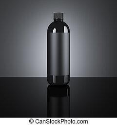 Black cosmetic blank bottle. 3d rendering