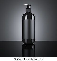 Black cosmetic blank dispenser. 3d rendering