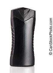 Black cosmetic bottle isolated on white background