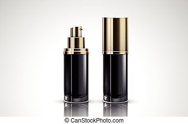 black cosmetic bottles - two black cosmetic containing ...
