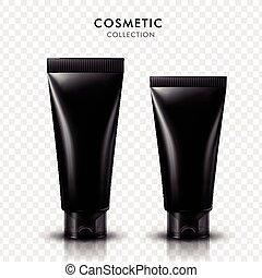 black cosmetic tubes