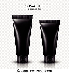 black cosmetic tubes