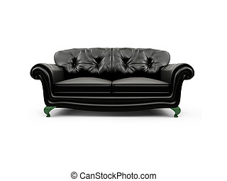 Black couch against white - isolated black couch against...