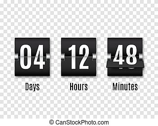 Black Countdown timer with white numbers isolated on transparent background. Clock counter. Vector