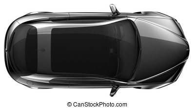 Black coupe - top view - Black coupe on a white background