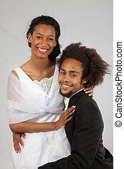 Black couple, hugging