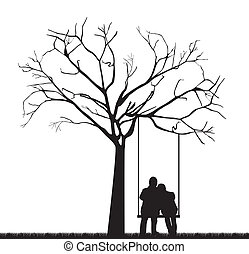 couple under tree - black couple under tree over swing. ...