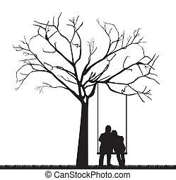black couple under tree over swing. vector illustration