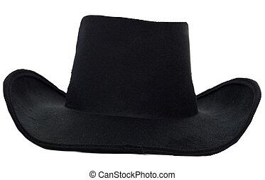 Black cowboy hat on white background