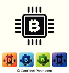 Black CPU mining farm icon isolated on white background. Bitcoin sign inside microchip. Cryptocurrency mining community. Digital money. Set icon in color square buttons. Vector Illustration