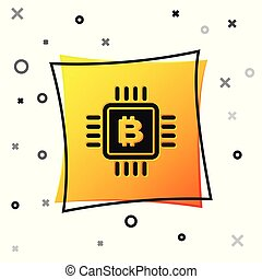 Black CPU mining farm icon isolated on white background. Bitcoin sign inside microchip. Cryptocurrency mining community. Digital money. Yellow square button. Vector Illustration