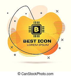 Black CPU mining farm icon isolated on white background. Bitcoin sign inside microchip. Cryptocurrency mining community. Digital money. Fluid color banner. Vector Illustration