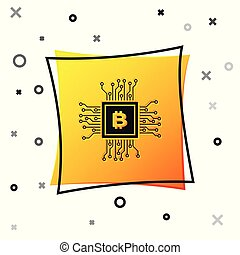 Black CPU mining farm icon isolated on white background. Bitcoin sign inside processor. Cryptocurrency mining community. Digital money. Yellow square button. Vector Illustration
