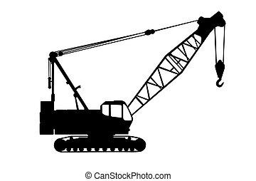 Crane silhouette - Black Crane silhouette isolate on a white...
