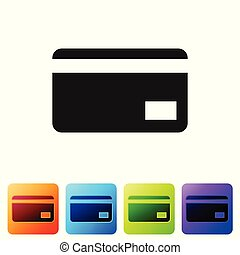 Black Credit card icon isolated on white background. Online payment. Cash withdrawal. Financial operations. Shopping sign. Set icon in color square buttons. Vector Illustration