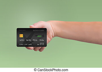 Black credit card in woman hand