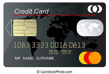 Black credit card vector with security key