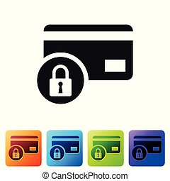 Black Credit card with lock icon isolated on white background. Locked bank card. Security, safety, protection concept. Concept of a safe payment. Set icon in color square buttons. Vector Illustration