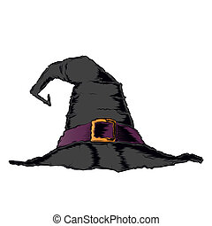 Black creepy witch hat with violet belt isolated on a white ...