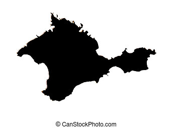 Black Crimean peninsula on a white background isolated