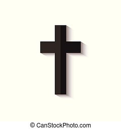 Black cross icon with realistic shadow isolated on white background