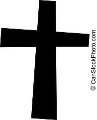 Black cross on a white background. Vector illustration.