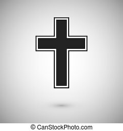 Black cross with stroke. Symbol and sign of christianity. ...