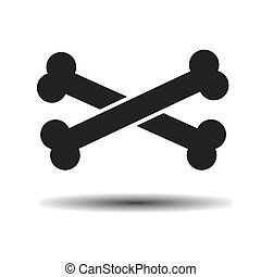 black crossbones vector flat icon
