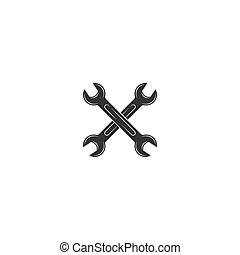 Black crossed wrenches or spanners silhouette icon isolated on white. house repair tool.