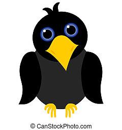 black crow cartoon with blue eyes and yellow beak