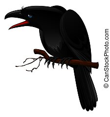 illustration of black crow sitting on branch isolated on white