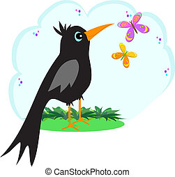 Black Crow with Butterflies - Here is a curious Black Crow...