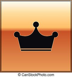 Black Crown icon isolated on gold background. Vector Illustration