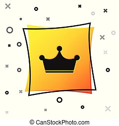 Black Crown icon isolated on white background. Yellow square button. Vector Illustration