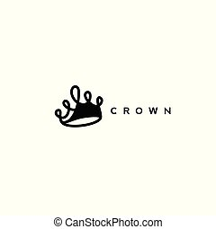 black crown icon on white background vector illustration -...