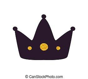 Black Crown Silhouette Icon Vector Illustration